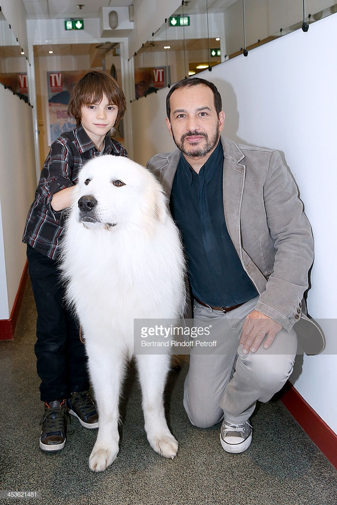 PARIS, FRANCE - DECEMBER 04:  (L-R)Actor Felix Bossuet, actor who played Sebastien in the serie 'Belle et Sebastien' from 1965 Mehdi El Glaoui with the dog Berger present the movie 'Belle et Sebastien' during the 'Vivement Dimanche' French TV Show at Pavillon Gabriel on December 4, 2013 in Paris, France.  (Photo by Bertrand Rindoff Petroff/Getty Images)